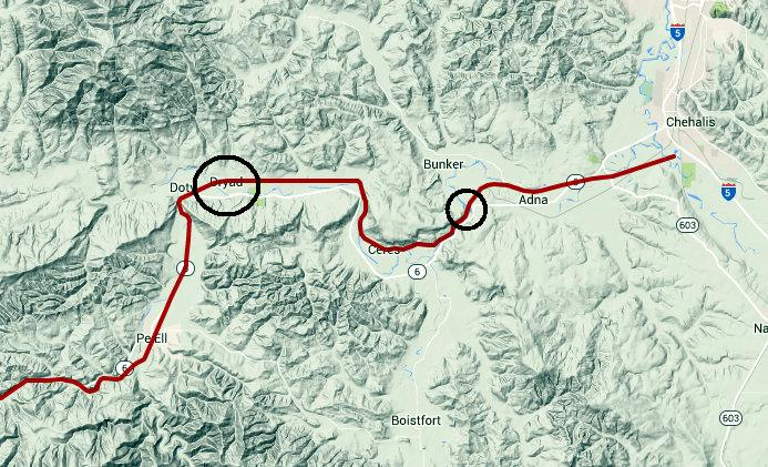 Approximate locations of replacement bridges opened on Willapa Hills Trail