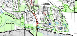Section of Newcastle Trail map; click for more