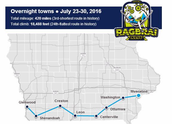 Route for 2016 RAGBRAI bike ride