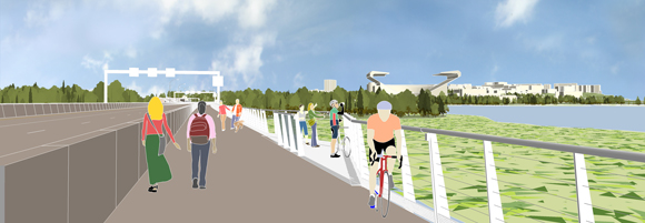 Bike-pedestrian trail and pull-outs (WSDOT rendering)