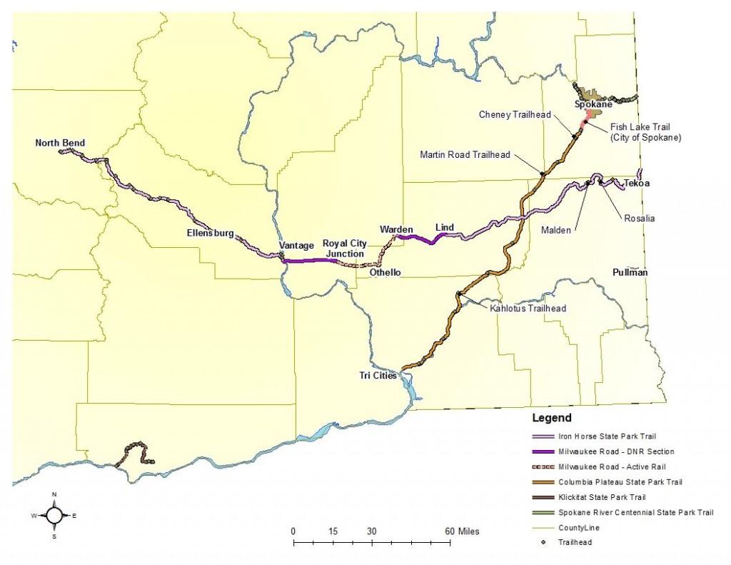 John Wayne Pioneer (E-W) and Columbia Plateau (NE-SW) trails