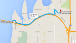 Route from Kirkland P and R to Evergreen Bridge