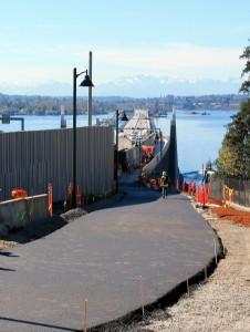 Bike path across SR 520 bridge at it appeared Wednesday