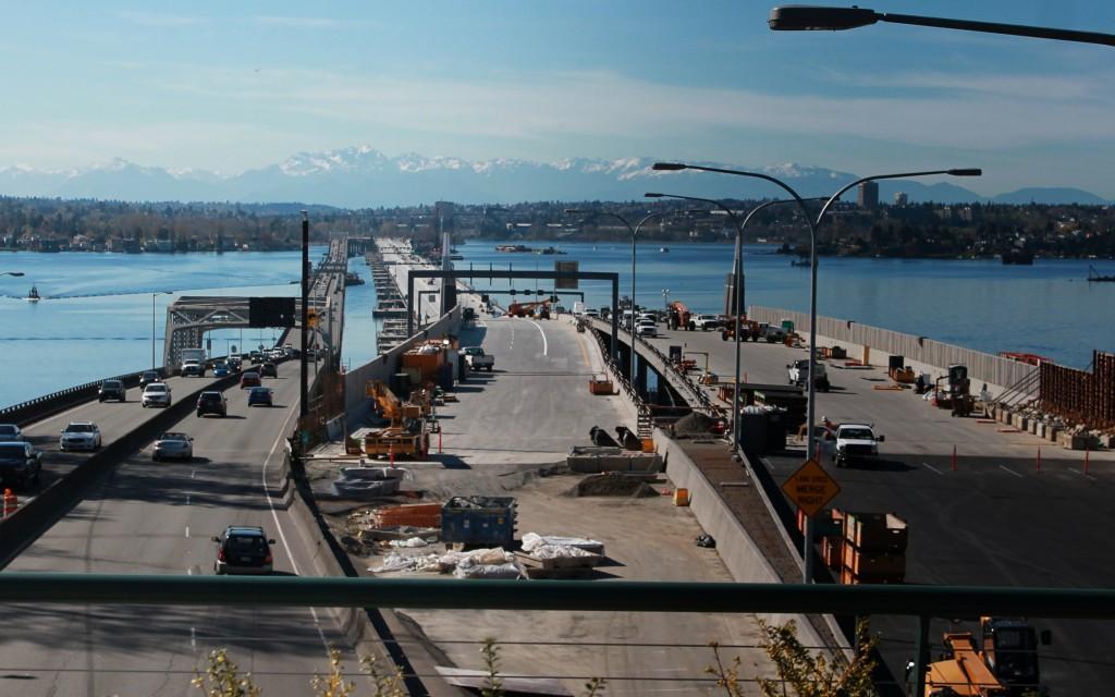 SR 520 bridge scene from Bellevue on Wednesday