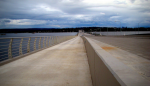 Looking east, a view of the new bike path on the 520 bridge