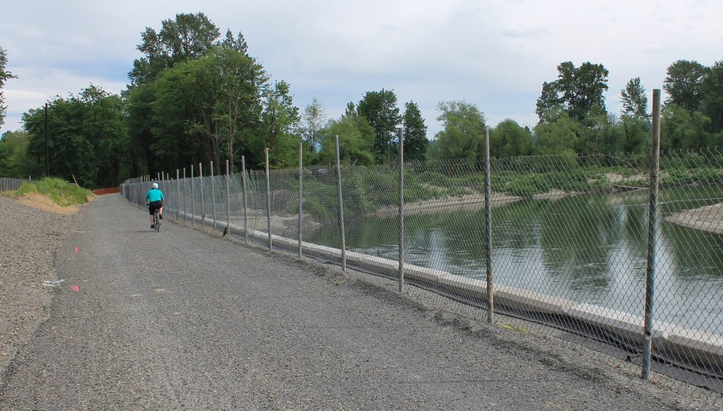 Temporary trail opening on the levee