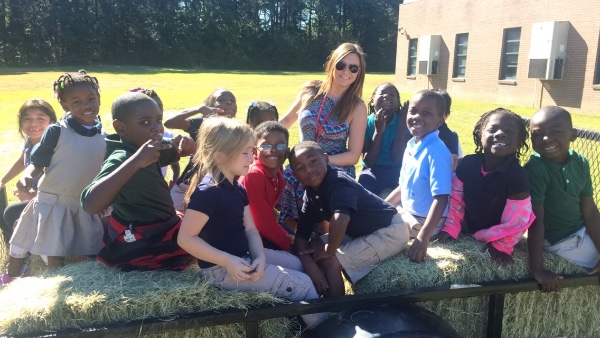 Katie Blomquist and some pupils at Peppermill Elementary