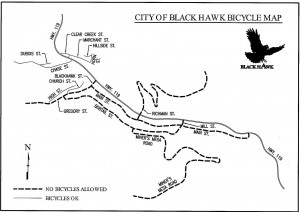 Where bicycles are banned in Black Hawk