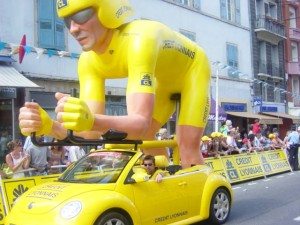 Yellow jersey in caravan